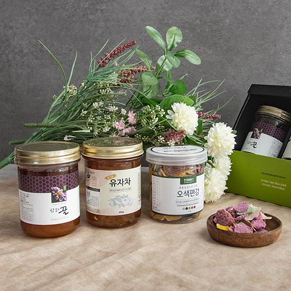 꿀 유자차 오색편강 선물세트